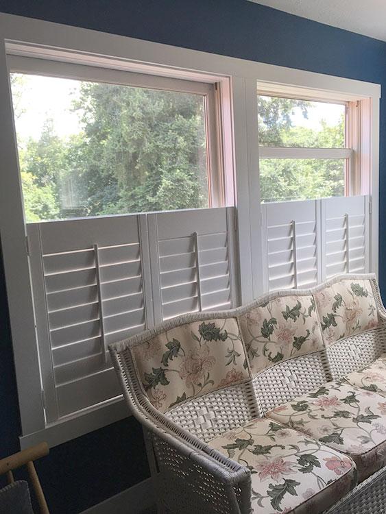 Wooden Window Shutters In A Livingroom